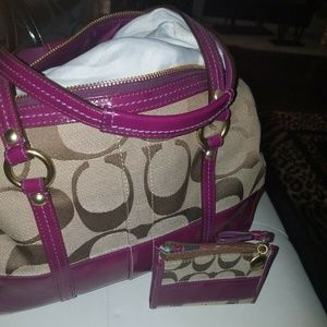 Coach Signature Bennett Satchel with Change Purse